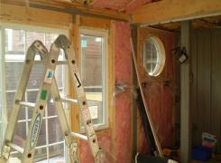Sunroom addition in progress insulation stage