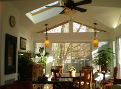 New sunroom addition with cathedral ceiling