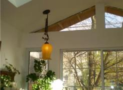 New sunroom addition with skylight and cathedral ceiling