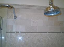Bath tile and shower head detail