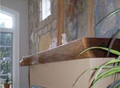 New gas fireplace mantel detail