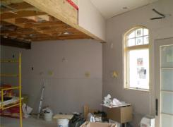 Rear addition finishing in progress - new suspended beam supporting second floor