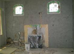 Interior stone facing scratch coat on and stone in progress