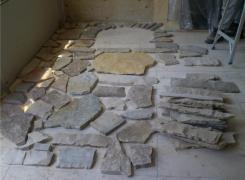Interior stone wall facing pattern layout