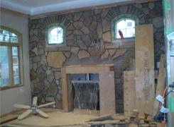 Interior stone facing in progress