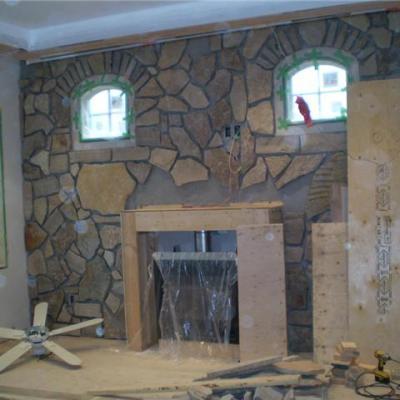 Interior stone facing in progress