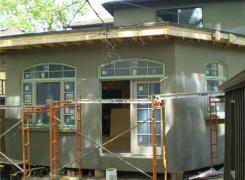 Rear Addition stucco in progress