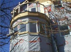 Cantilevered semi circular window and third floor deck in progress