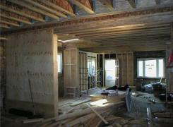 First floor framing with shear wall framing in progress