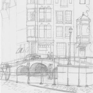 Amsterdam Canal - Pencil Sketch