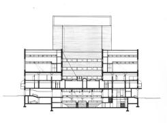 Cross Section Drawing through the Studio Theatre and Courtyard