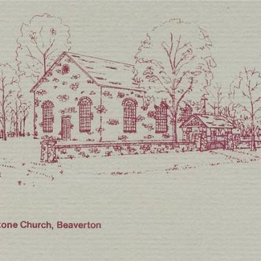 Old Stone Church Beaverton - Ink drawing