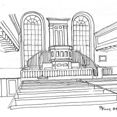 Old Stone Church Beaverton Interior - Ink drawing