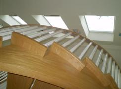 Curved stairs & skylights