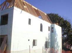 Insulated concrete walls and roof framing in progress