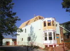 Insulated concrete walls, bay window and roof framing