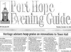 Port Hope Newspaper article