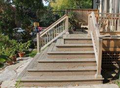 New deck & stair details, landscaped walkway
