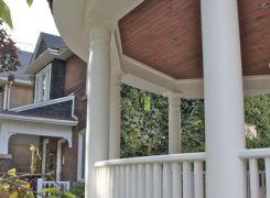 Curved verandah railing and roof